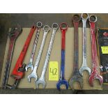 Qty. of box end wrenches from 3/8'' to 2 1/8'' w/ large pipe wrench and adjustable wrench