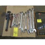 Qty. of box end wrenches from 3/8'' to 1 3/4'' w/ two pipe wrenches and adjustable wrench