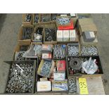 2 skids containing nuts, bolts, fasteners, pulleys, wheels and misc.