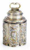 Barocke Vermeil-SchraubflascheOhlau in Schlesien, um 1700H. 13 cmSilber, gegossen, getrieben und