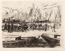 """Liebermann, MaxBerlin, 1847 - 193523,5 x 30cm,o.R.""""Rindermarkt in Leiden"""", 1900. Radierung auf"""
