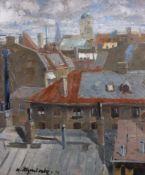 Atzenbeck, Hans1886 - ?55 x 47 cm,R.Ansicht von München mit Frauenkirche, 1914. Öl auf Karton. In Öl