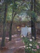Anoym85,5x64,5cm,o.R.Tisch und Stuhl unter Bäumen. Öl auf Leinwand.Provenienz: Privatbesitz,