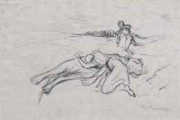 """Liebermann, MaxBerlin, 1847 - 193511,3x16,3cm, R.""""Die klagende Tierbudenbesitzerin wirft sich über"""