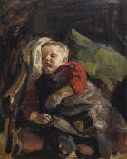 Pforr, HeinrichLaudenbach, 1880 - 197049 x 38 cm,R.Schlafender Junge, 1910. Öl auf Karton. In Öl