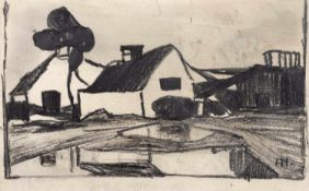 Hölzel, AdolfOlmütz/Mähren, 1853 - Stuttgart, 19348,7 x14,5cm,o.R.Häuser in Landschaft. Bleistift