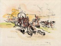 "Liebermann, MaxBerlin, 1847 - 193510 x 13 cm, o.R.""Der Aufbruch zur Jagd"", 1920. Aquarellierter"