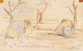 """Haueisen, AlbertStuttgart, 1872 - Jockgrim, 1954Versch., o.R.2 Bl.: """"Zwiebeln pflanzen"""", 1910;"""