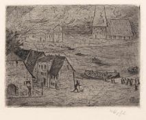 """Hofer, KarlKarlsruhe, 1878 - Berlin, 195513,1x17,9cm,o.R.""""Nächtliche Überfahrt"""", 1899. Radierung auf"""