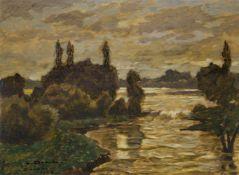 """Dill, LudwigGernsbach, 1848 - Karlsruhe, 194037 x 59 cm,R.""""Hochwasser der Amper"""", 1922. Öl auf"""