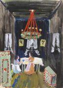 Stirner, KarlEllwangen, 1882 - 194314,5x10,5, o.R.2 Bl.: Weihnachtlich geschmückte Stube. Gouache