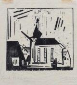 """Feininger, LyonelNew York, 1871 - 195613,6x14,6cm,o.R.""""Süssenborn - Dorfkirche"""", 1923. Holzschnitt"""