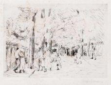 """Liebermann, MaxBerlin, 1847 - 193522 x 31 cm, o.R.""""Straße in Wannsee"""", 1922. Radierung auf Bütten."""