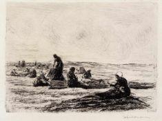 """Liebermann, MaxBerlin, 1847 - 193522 x 31 cm,o.R.""""Netzflickerinnen"""", 1894. Radierung auf Bütten."""
