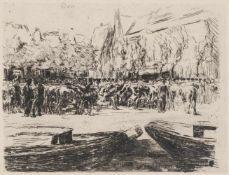 """Liebermann, MaxBerlin, 1847 - 193521,2 x 28cm,R.""""Rindermarkt in Leiden"""", 1900. Radierung auf Bütten."""