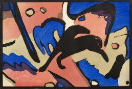 Marc, FranzMünchen, 1880 - Verdun, 191614,5 x 21cm,o.R.Ohne Titel, 1912. Kolorierter Holzschnitt aus