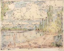 """Haueisen, AlbertStuttgart, 1872 - Jockgrim, 195430 x 40 cm,o.R.""""Am Rhein"""", 1922. Farbstift über"""