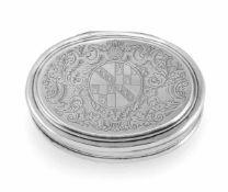 Queen Anne Silber-TabatiereThomas Sadler, London, 171210,5 x 8 x 2,6cmOval, Klappdeckel mit