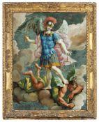 Grosses Hinterglasgemälde mit Heiligem MichaelItalien, 18. Jahrhundert76 x 56 cmAuf einem Wolkenband
