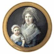 Dubois, FrédericFrankreich, tätig 1780-1819D. 6,1/7,5 cmGroßmutter und ihr Enkelkind. Die Dame mit