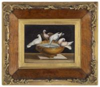 Feines Mikromosaik mit den Tauben des PliniusRom, Mitte 19. Jahrhundert14 x 19 cmRechteckiges,