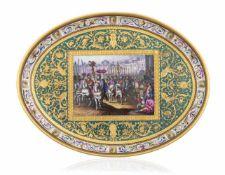 Wiener Tablett19. JahrhundertL. 32 cmOval, der Rand verziert mit farbigem, rafalleskem Schweifwerk