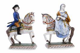 Barockes Delfter Reiterpaar18./19. JahrhundertH. 23/24 cmFayence, weiß glasiert, bemalt in
