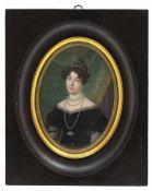"""Monogrammist """"FCH""""Deutsch oder Österreich, um 1830/4014 x 10 cmPortrait einer jungen Dame in"""