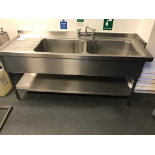 Lot 13 - Stainless Steel Double Sink with Single Movable Tap & Shelf