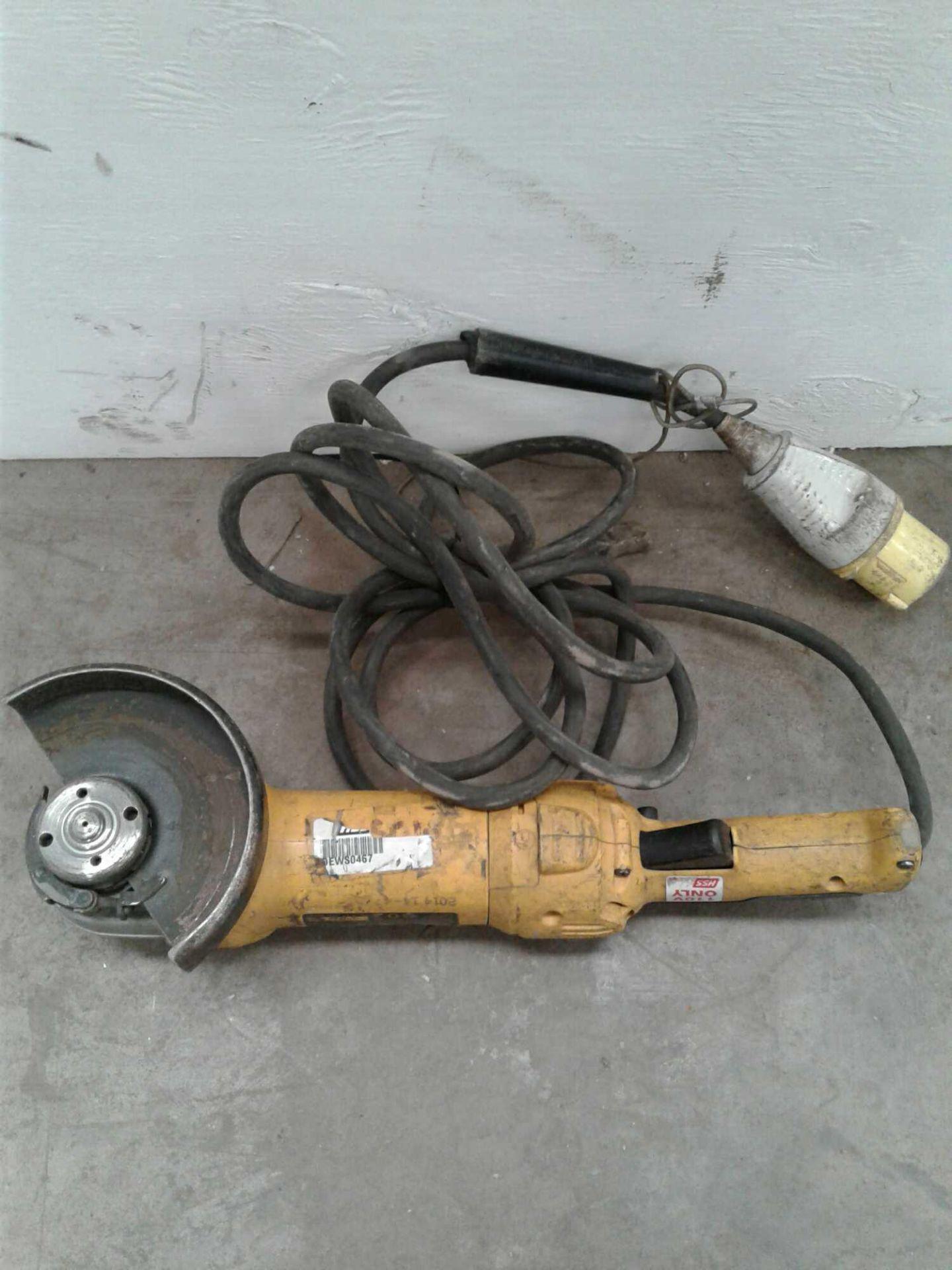 Lot 53 - DeWalt 4 inch angle grinder 110 V