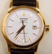 WEMPE - ZEITMEISTER - DAMENARMBANDUHR, vergoldetes Edelstahlgehäuse an Lederband (wenig getragen),