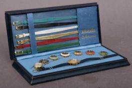 "NIVADA ""COLORAMA"" Damenarmbanduhr der 1960er/70er Jahre, 2(!!!) vergoldete Damenuhren mit"