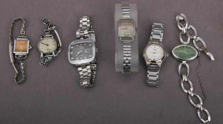 6 alte/ältere Damenarmbanduhren, Stahlgehäuse. Versch. Hersteller, Alter, Größen & Erhalt.