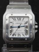 """CARTIER """"SANTOS DE CARTIER"""" AUTOMATIK Herrenarmbanduhr mit zentraler Sekunde und Datum auf der """""""