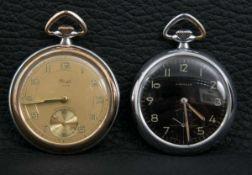 Zwei Kienzle Taschenuhren der 1920er/30er Jahre. Stahlgehäuse. Optisch schöner Erhalt. Ungeprüft.