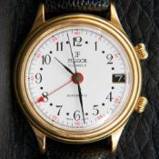FULGOR-AUTOMATK Herrenarmbanduhr mit zentraler Sekunde, Wecker & Datum. Vergoldetes, rundes