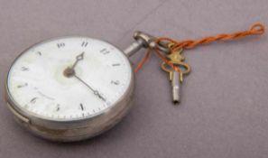 Antike Spindeltaschenuhr, England 18./19. Jhd., Silbergehäuse gedellt, Ziffernblatt restauriert,
