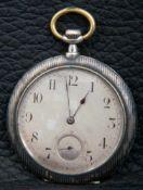 Elegante Frackuhr, flache Herrentaschenuhr, MOVADO, Gehäuse in Silber Niello-Technik (stellenweise