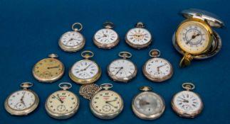 13teiliges Konvolut Taschenuhren, teilweise Silber, ungeprüft, versch. Alter, Größen,