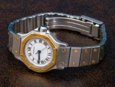 """Santos de Cartier"" Automatik Damenarmbanduhr in Stahl/Gold an orig. Gliederarmband mit"