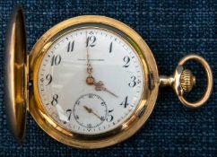 """""""UNION HORLOGERE"""" - Savonette Herrentaschenuhr um 1900/20, 585er Gelbgoldgehäuse mit ligiertem"""