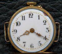 Frühe Armbanduhr, 585er Rotgold/Roségold-Gehäuse mit nachträglich angesetzten Armbandösen,