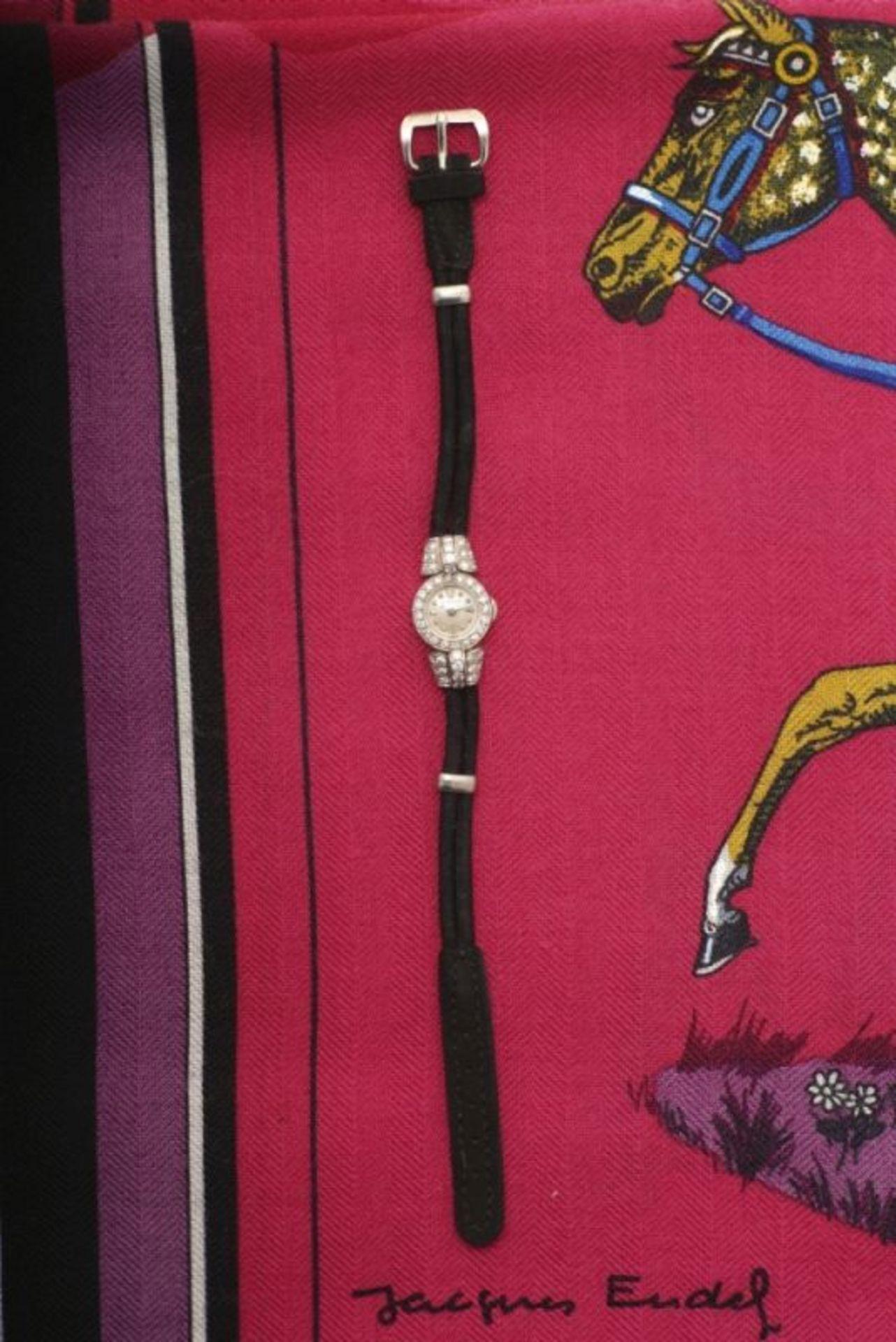 Diamond set Lady's WristwatchGeneva, 1950s, JAEGER-LECOULTRE Platinum 950/-, stamped. Swiss assay