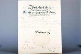 Friedrich von Gottes Gnaden, Großherzog von Baden II: Urkunde von 1911Bestallungsurkunde mit