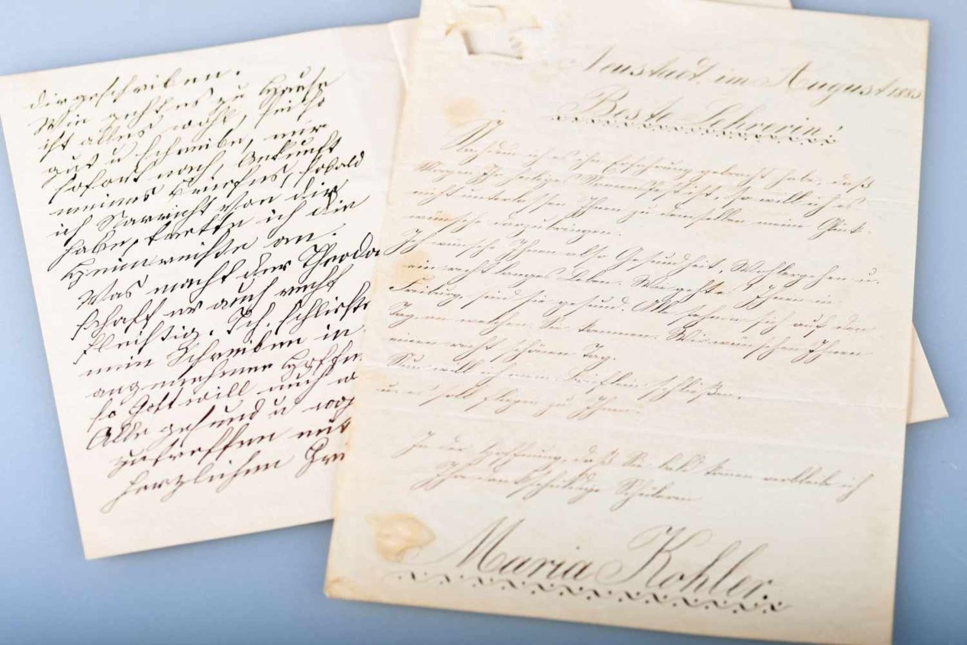 Zwei Briefe, Neustadt / Schwarzwald 1888 und 1889Je eine Briefseite einer Hauswirtschaftsschülerin