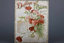 """Kalender für das Jahr 1898 """"Duftige Blüten""""Reliefgeprägte und farbig gedruckte Karten mit je einem"""