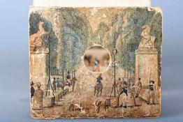 Guckkasten mit 6 altkolorierten Guckkastenansichten um 1780/1800Front- und Rückseitenkupfer auf