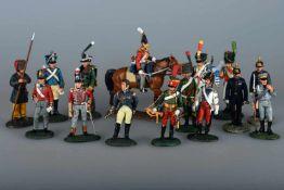 15 Zinnfiguren, delPrado CollectionZinn, vollplastisch und farbig bemalt. U.a. Offiziere,