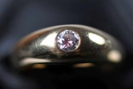Herrenring, GG 585Solitärring, 1 Brillant, ca. 0,20 ct/H/ vvsi, Ringgröße: 60, ca. 7,7 gr. (