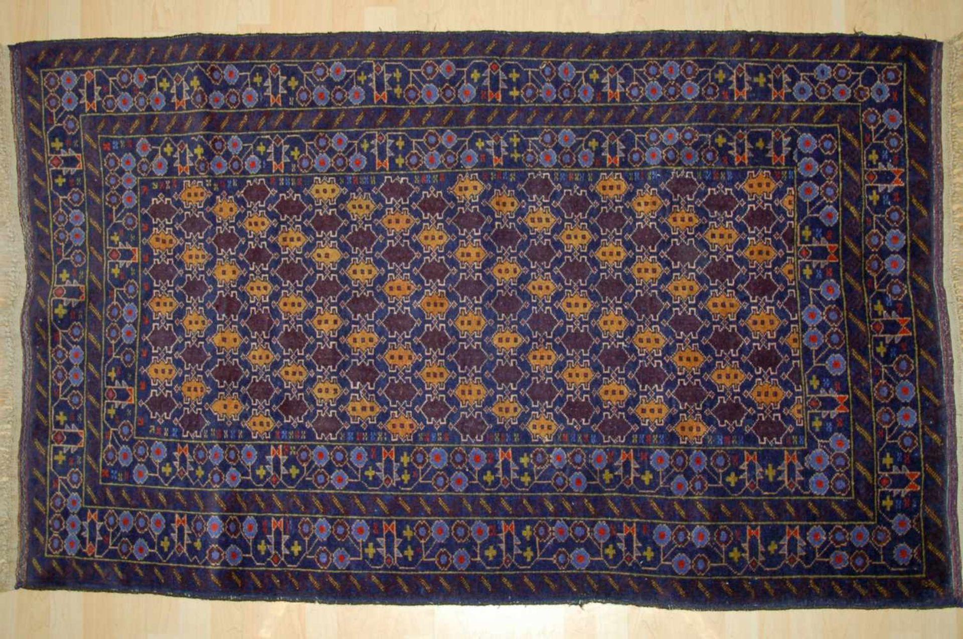 Bouchara, ZentralasienBrücke, blaugrundig, ca. 185 x 106 cm.